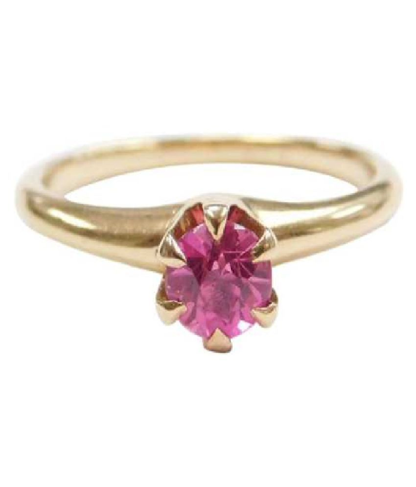 PINK SAPPHIRE Stone Gold plated RING(ANGUTHI) 9.25 carat by RATAN BAZAAR
