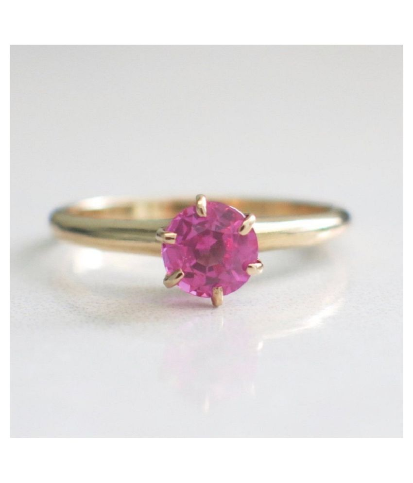 Unheated 8 Carat  PINK SAPPHIRE GOLD PLATED RING(ANGUTHI) 100% Original & Certified Stone by RATAN BAZAAR