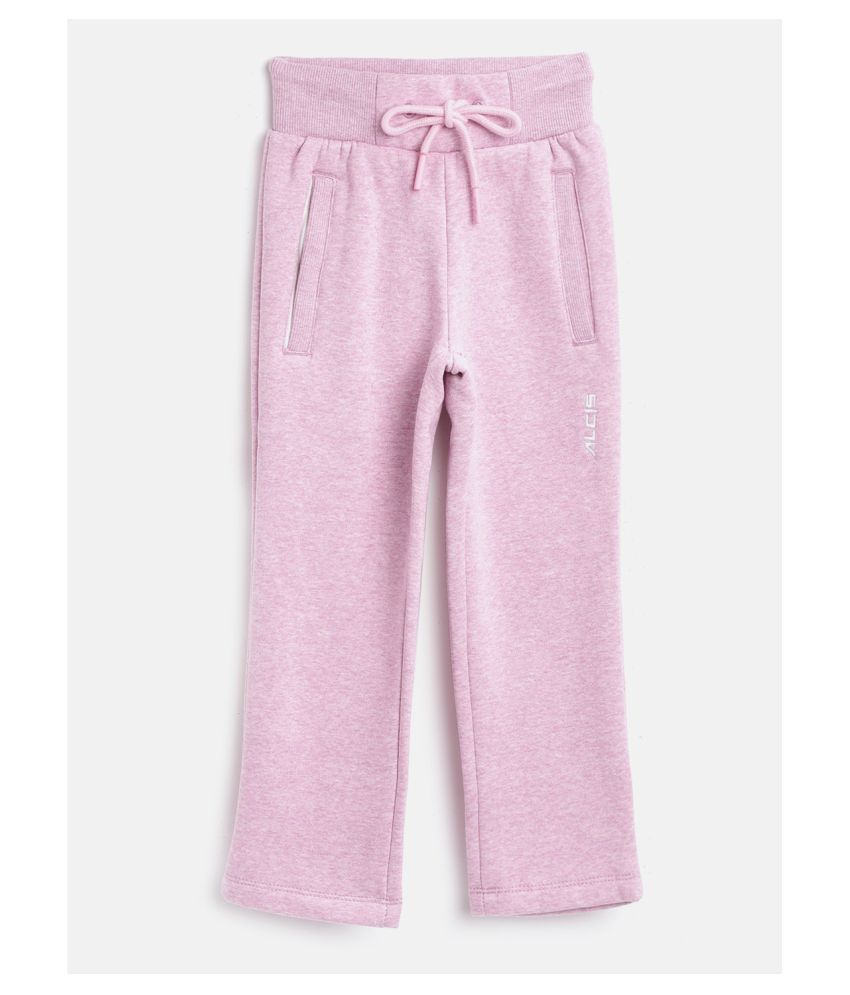 Alcis Girls Pink Solid Knitted Track Pants