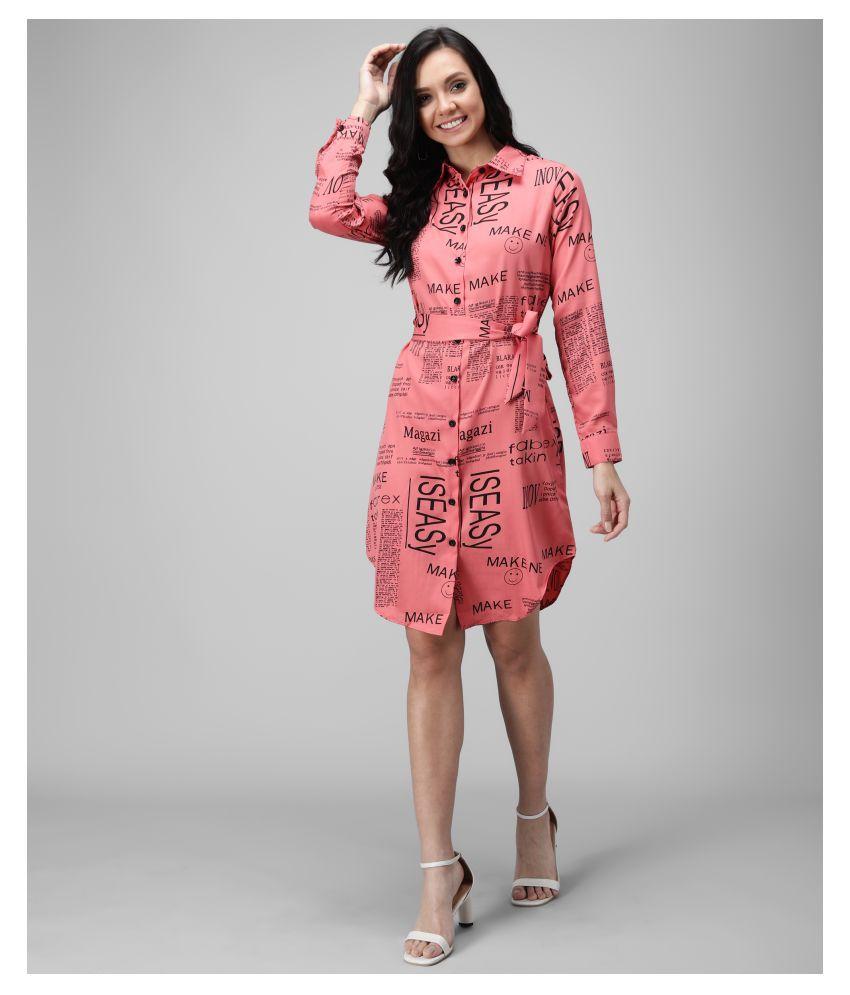 Oceanista Crepe Pink Shirt Dress