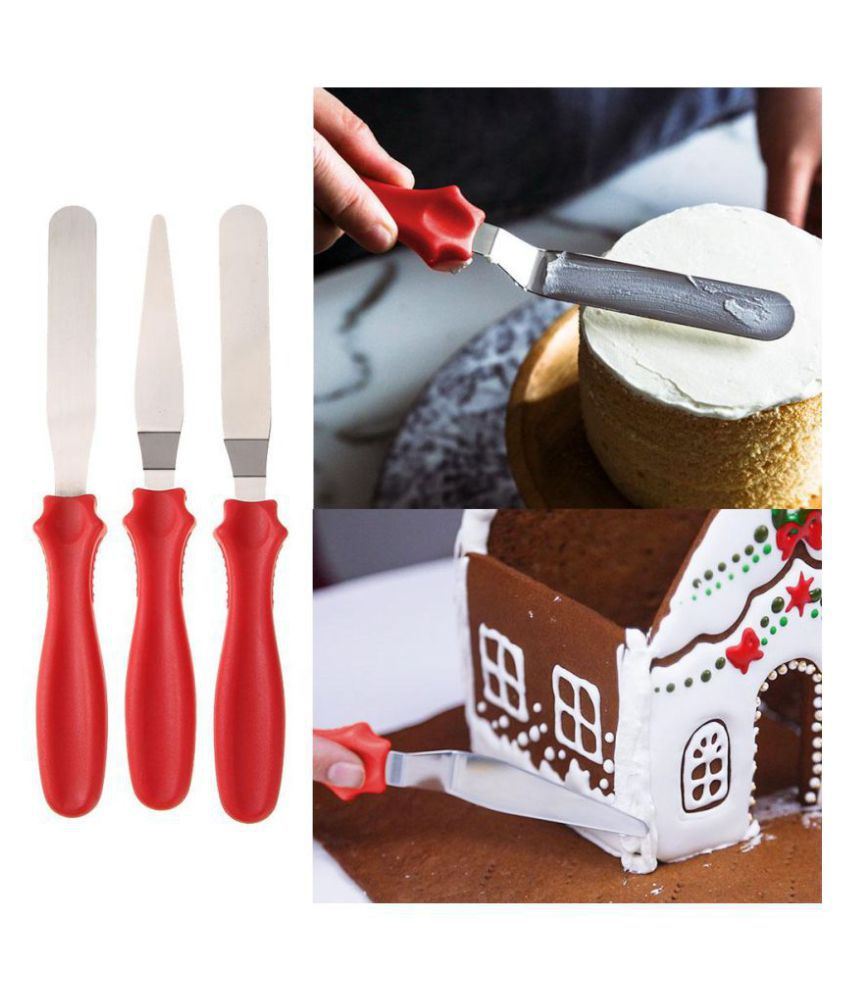 3pcs/Set Stainless Steel Angled Straight Blade Spatula Cake Cream Scraper