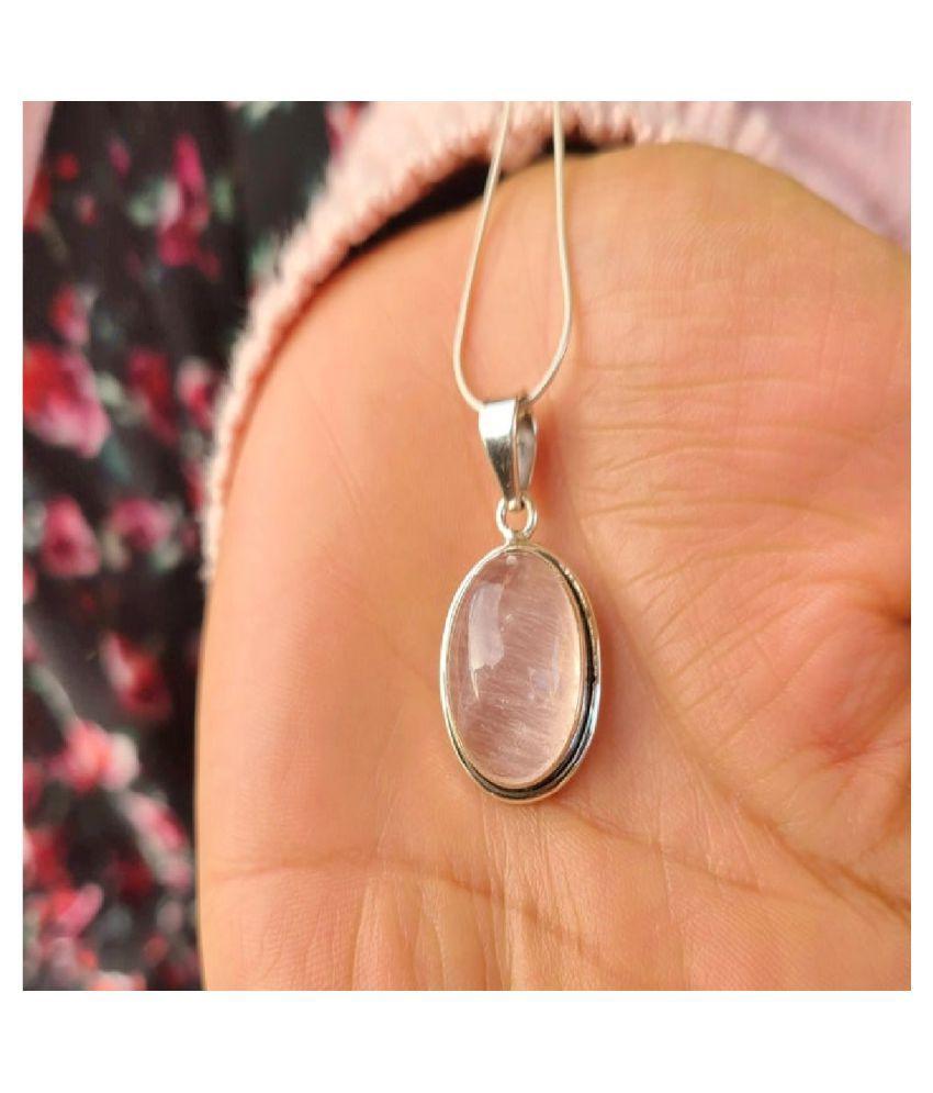 5.5 ratti  Pendant Natural Rose quartz Sterling Silver Pendant by  Kundli Gems