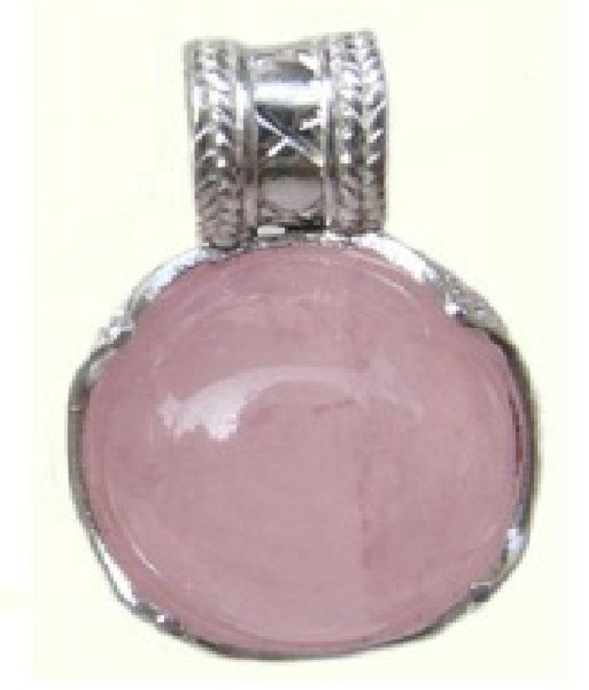 6.5 Carat Natural Stone Silver Rose quartz Pendant for unisex by Kundli Gems\n