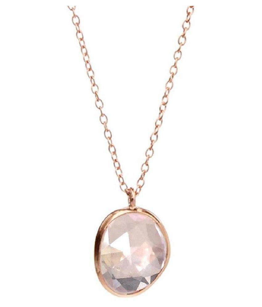 7.25 Carat Stone Rose quartz Gold Plated Pendant for unisex by Kundli Gems\n
