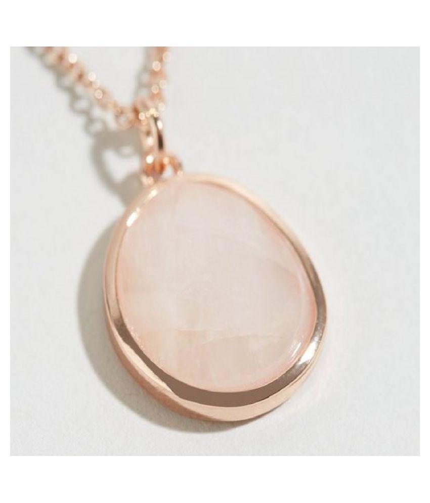 7 ratti Stone 100% Natural Rose quartz Gold Plated Pendant by  Kundli Gems\n