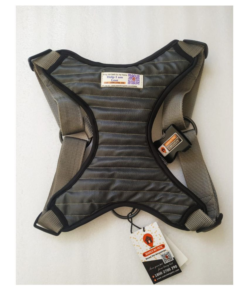 Anti-Lost Dog's Chest Body Cover Harness, Best Comfortable Grey Color Leather Look  Pet Harness
