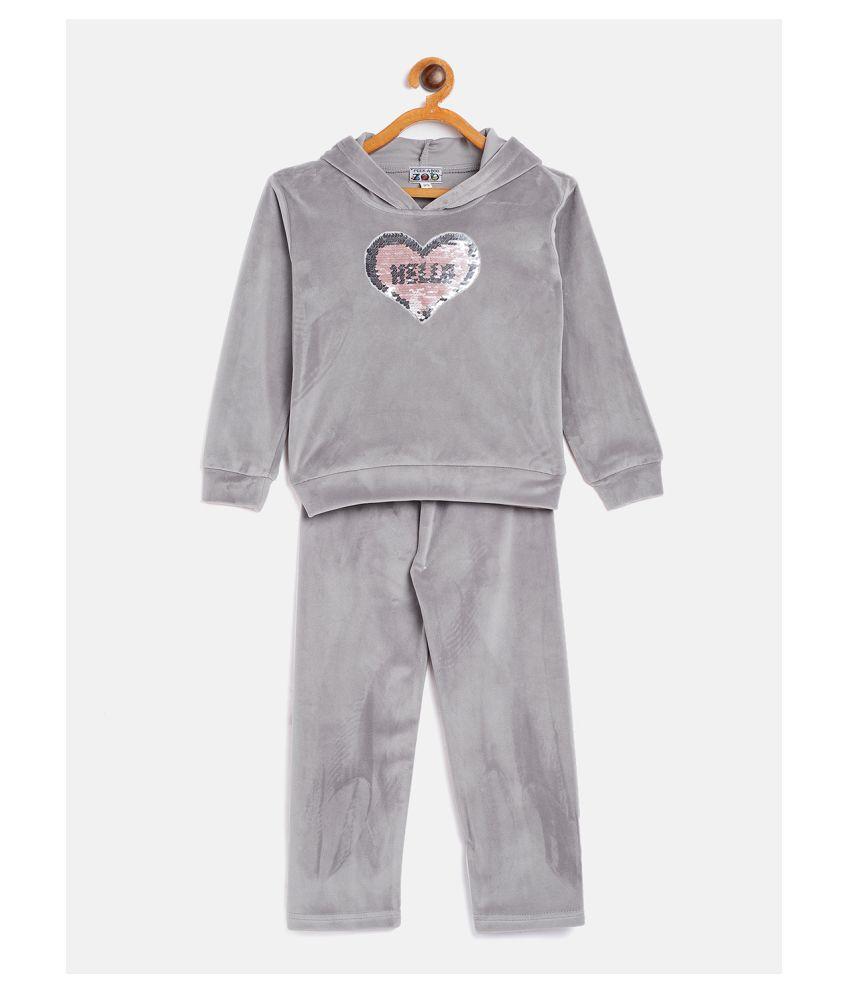 Peek a boo zoo  Embellished Girls Full Sleeves Velvet Hoodie and Pant Set Track Suit (Multicolor)