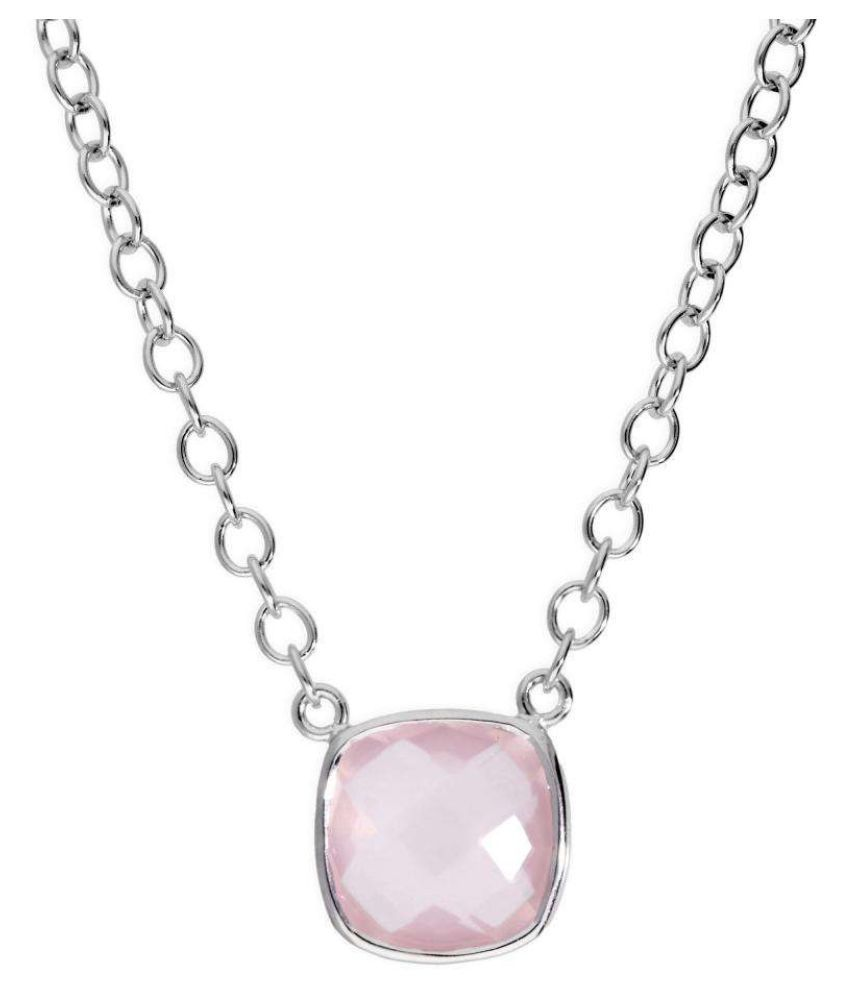 Rose quartz original & lab certified 5.25 ratti silver Pendant for astrological purpose by Kundli Gems\n