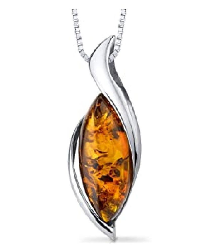 Sterling Silver 5.5 Carat Classic Amber Pendant by Kundli Gems