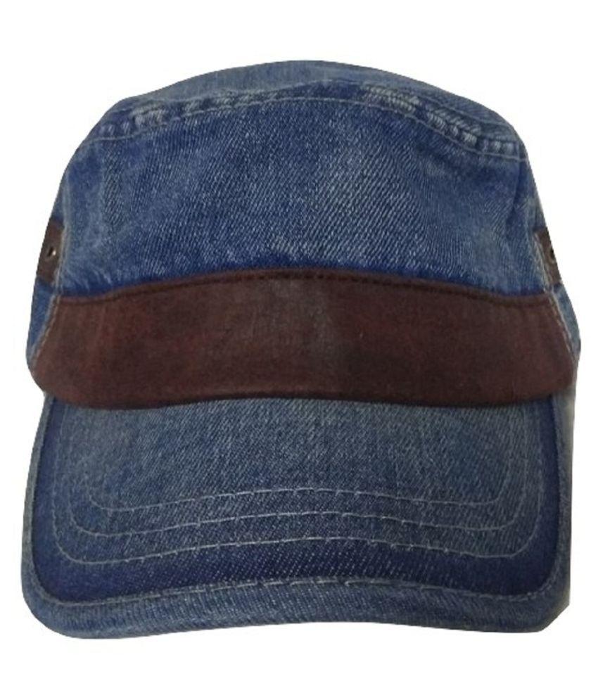 garg creation Blue Plain Cotton Caps