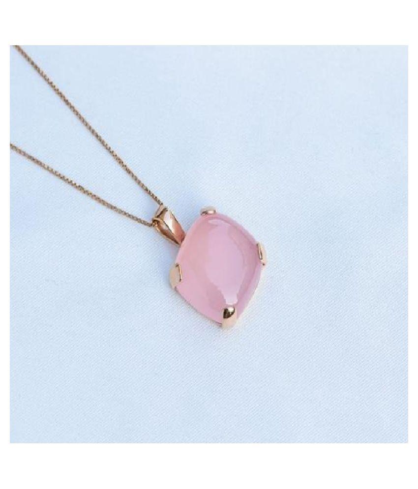 9.25 Ratti Rose quartz Pendant with Natural Gold Plated Rose quartz Stone by Kundli Gems