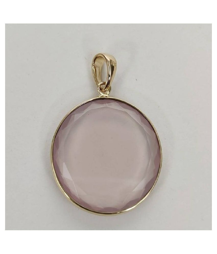 9 Carat  Rose quartz Pendant with lab Report Gold Plated Rose quartz Stone by Ratan Bazaar