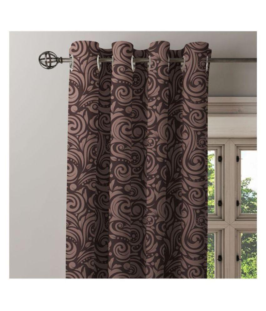 Ixora Decor Single Door Eyelet Cotton Curtains Brown