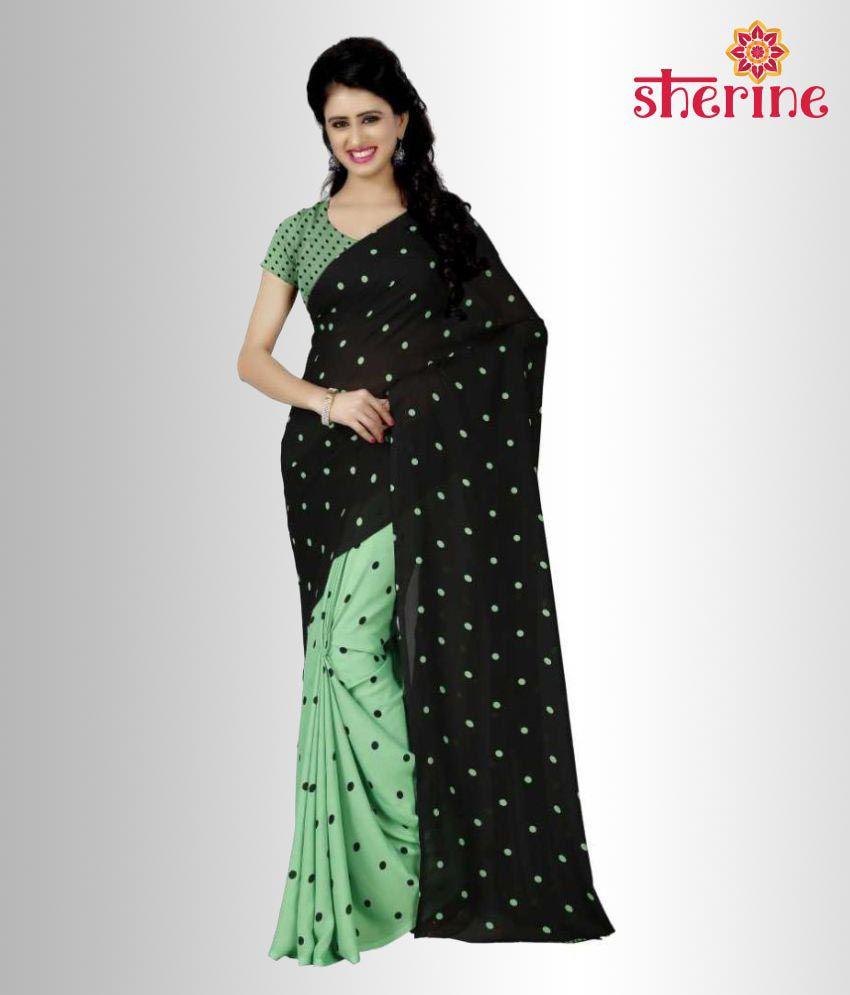 Sherine Black,Green Printed Saree (Fabric- Poly Georgette)