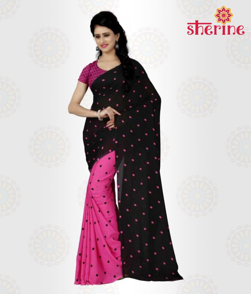 Sherine Black, Pink Polka dot Printed Saree (Fabric- Poly Georgette)