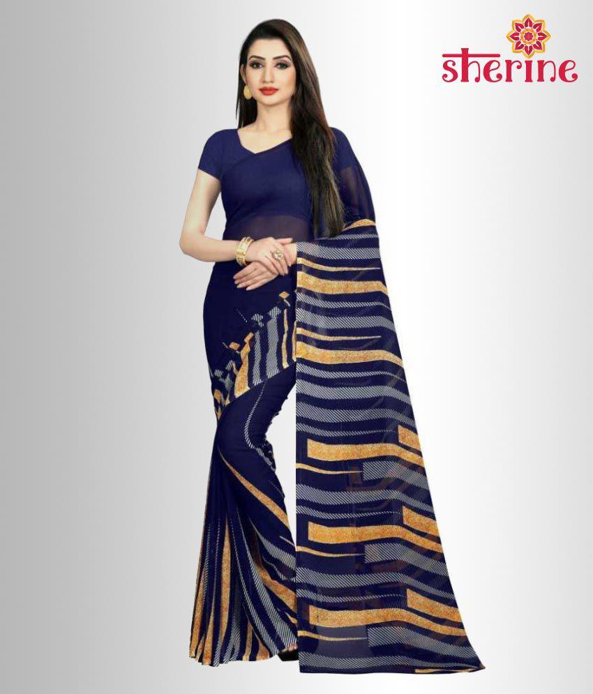 Sherine Blue Printed Saree (Fabric- Poly Georgette)