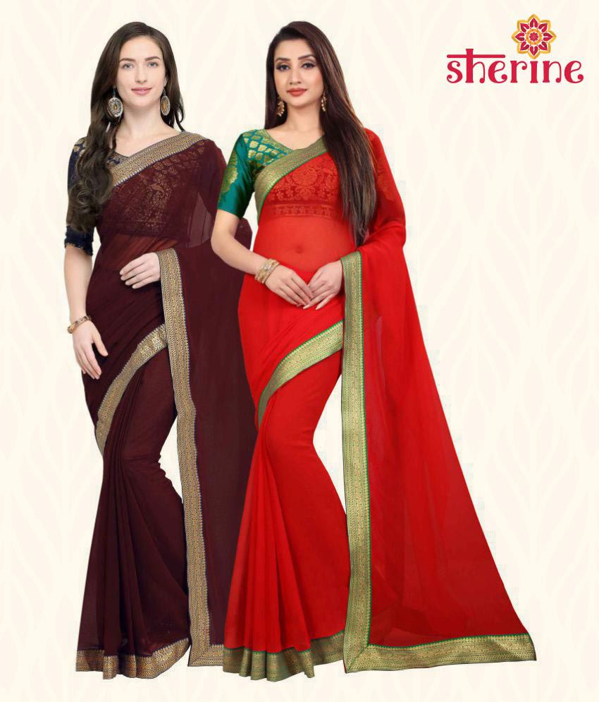 Sherine Brown, Red Plain with Border Saree Combo (Fabric- Poly Chiffon)