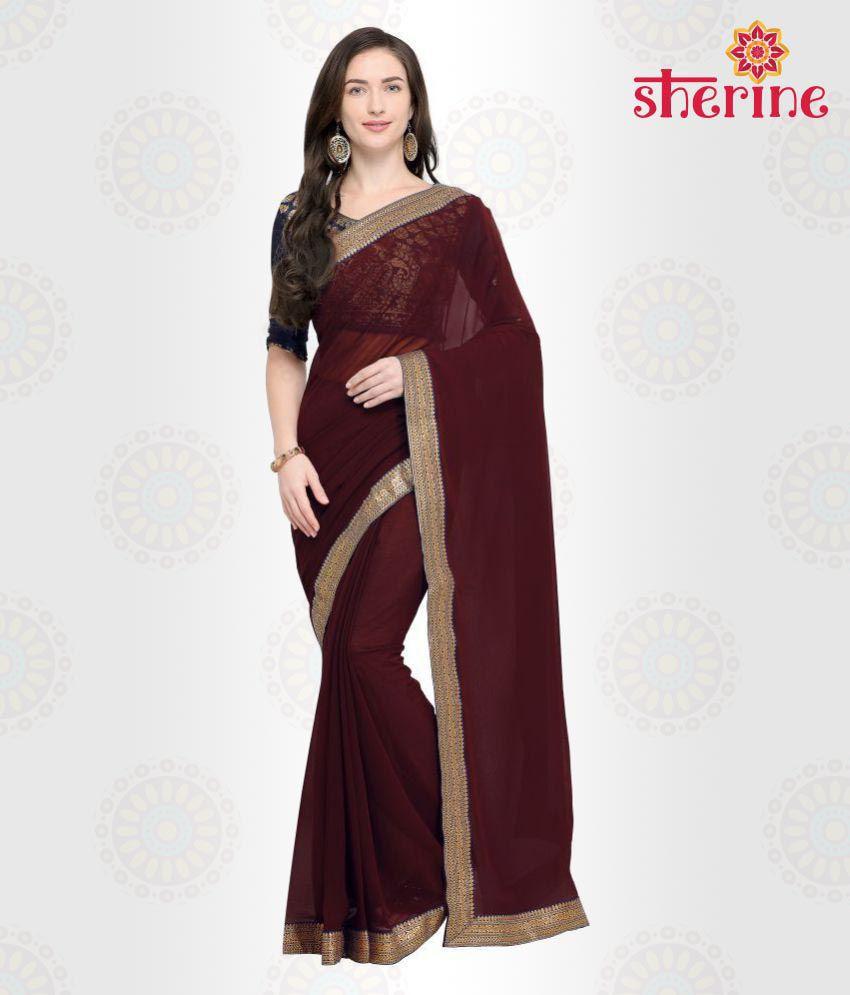 Sherine Maroon Plain with Border Saree(Fabric- Poly Chiffon)