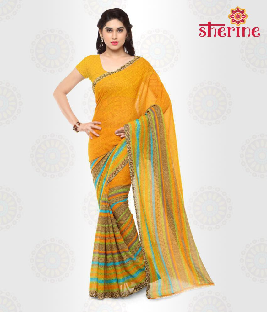 Sherine Yellow Printed Saree (Fabric- Poly Georgette)