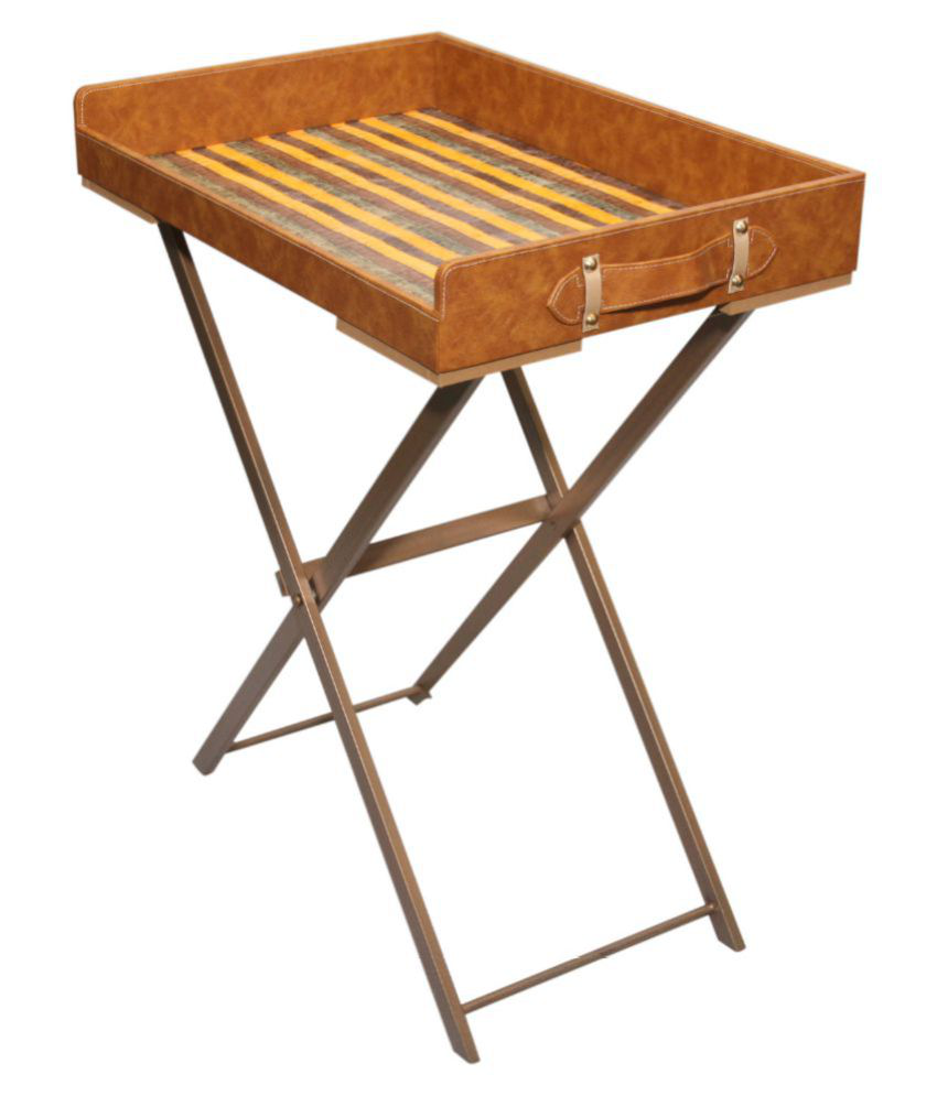 CasaGold Modern Foldable Leather Butler Tray Table with Metal Stand - Brown
