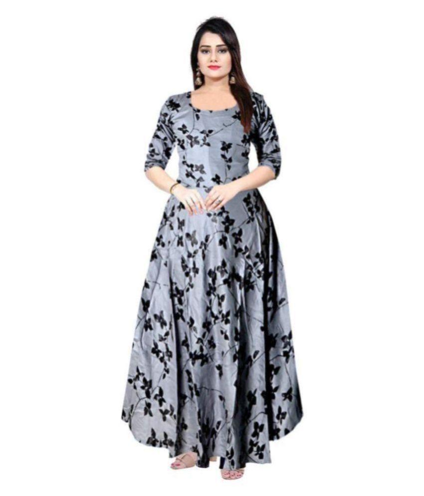 Frionkandy Rayon Grey A- line Dress