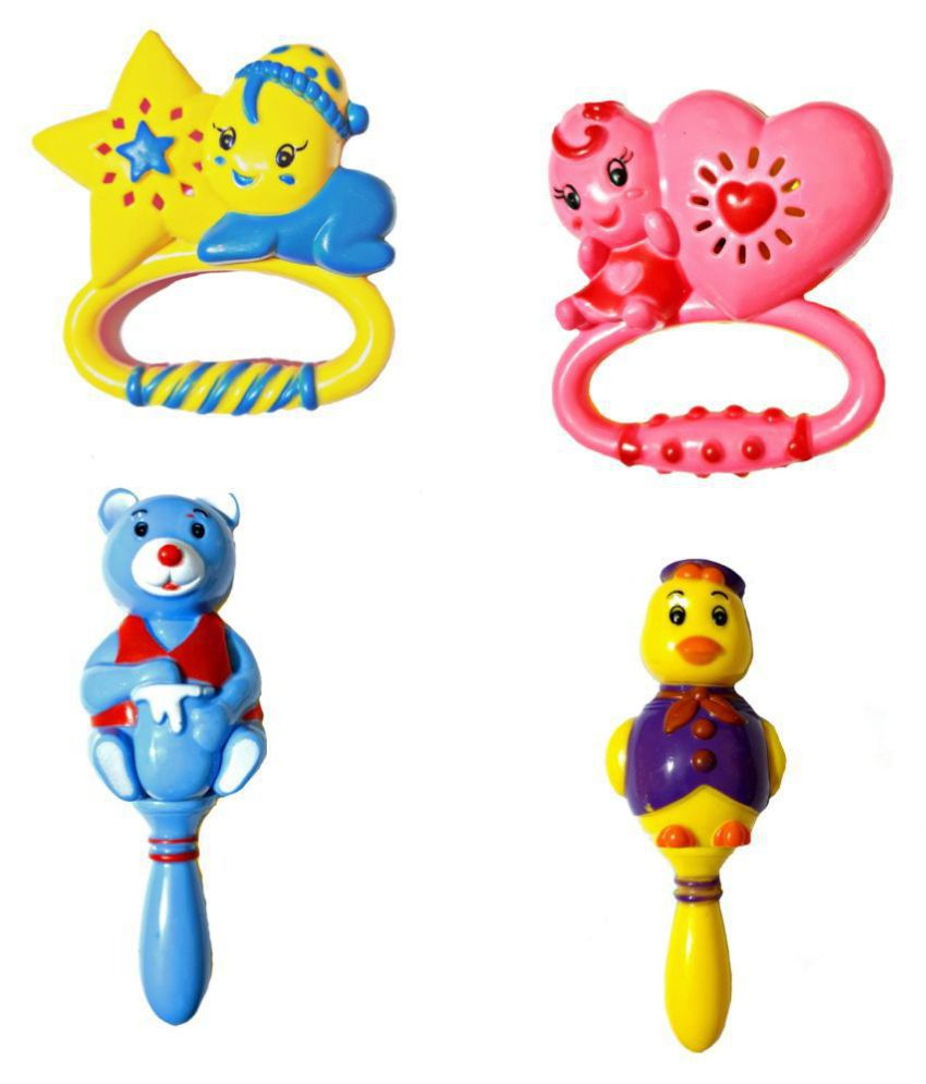AJ@ 4PC Lovely Colorful Rattle Set For Toddler Toy