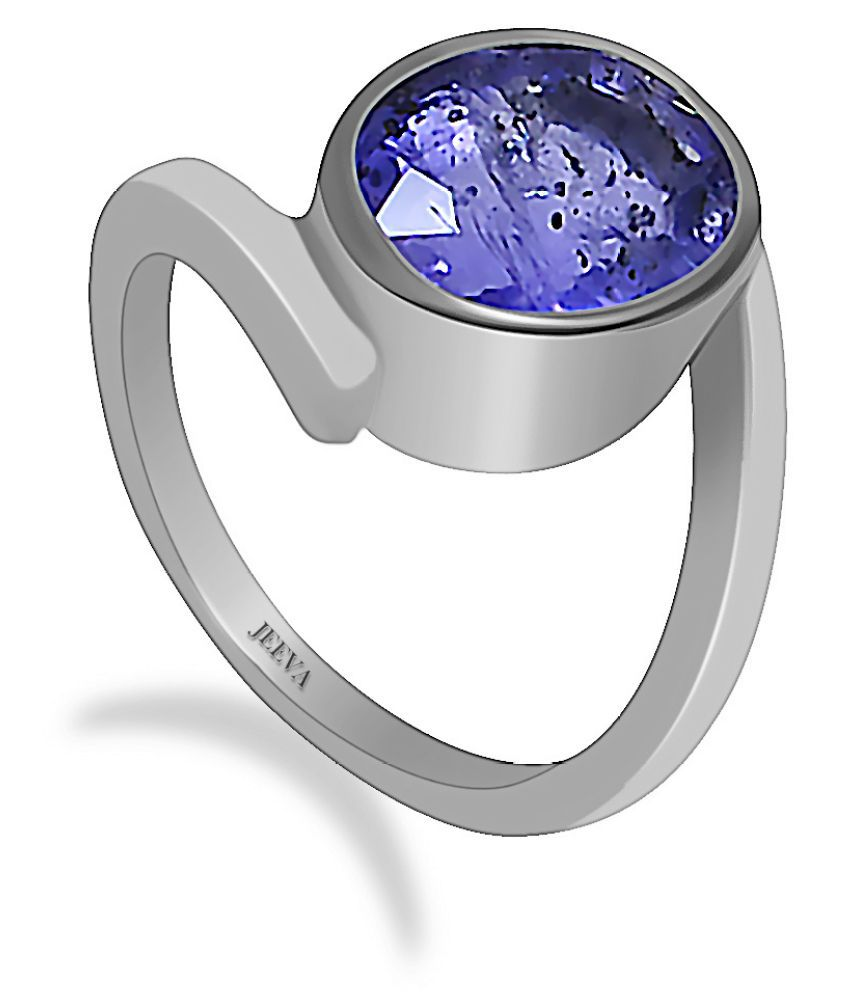 Jeeva certified Iolite 6.25 Ratti or 5.65 Cts stone ring in 9.25 silver metal for men and women