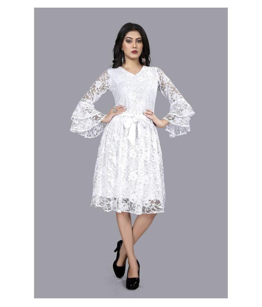 SK Creation Polyester White Skater Dress