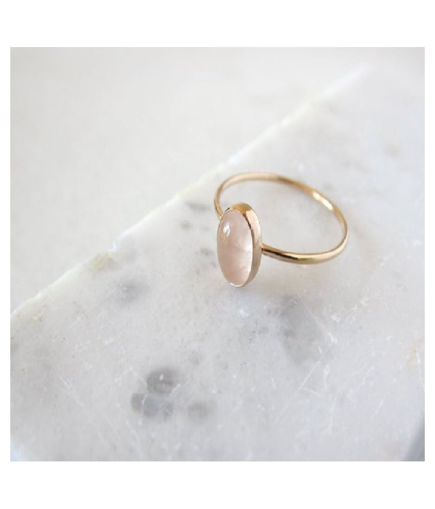 6.25 Ratti Rose quartz pure Gold Plated Ring for Unisex by  Ratan Bazaar \n