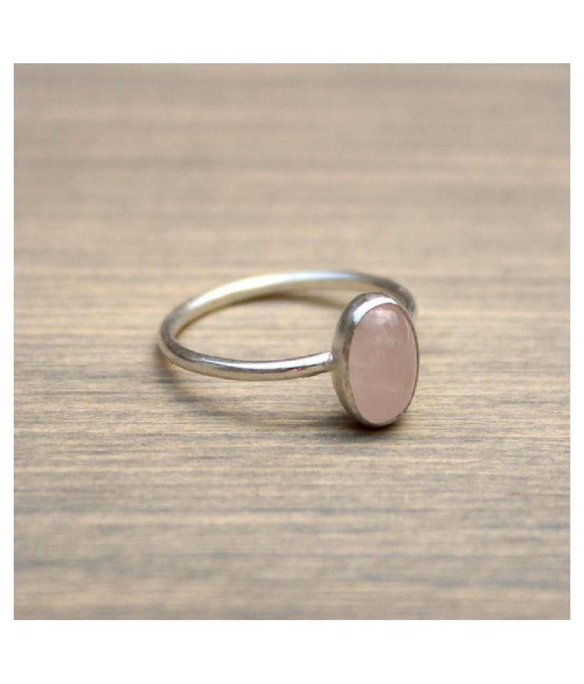 6.5 Ratti Silver Original Rose quartz Ring Lab Certified Stone by Ratan Bazaar \n