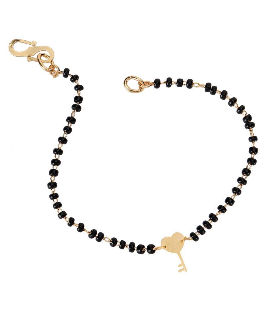 Baby Nazariya Black Thread Bead in Gold Plating HEART KEY Design