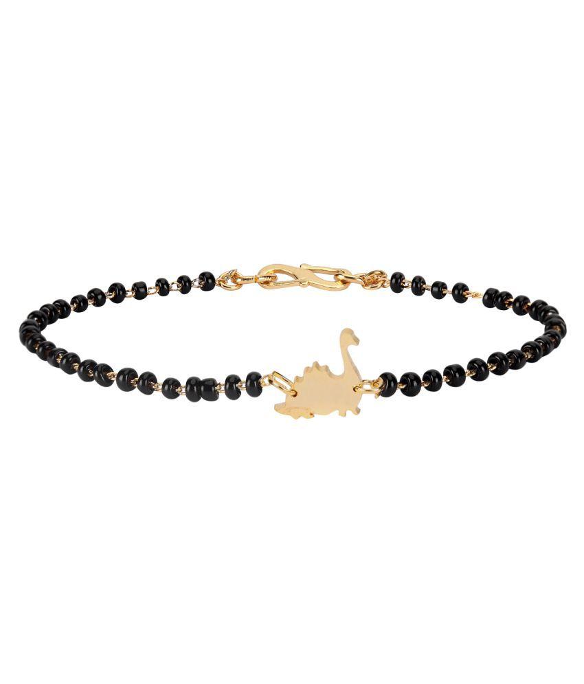 Baby Nazariya Black Thread Bead in Gold Plating DIANOSAUR Design