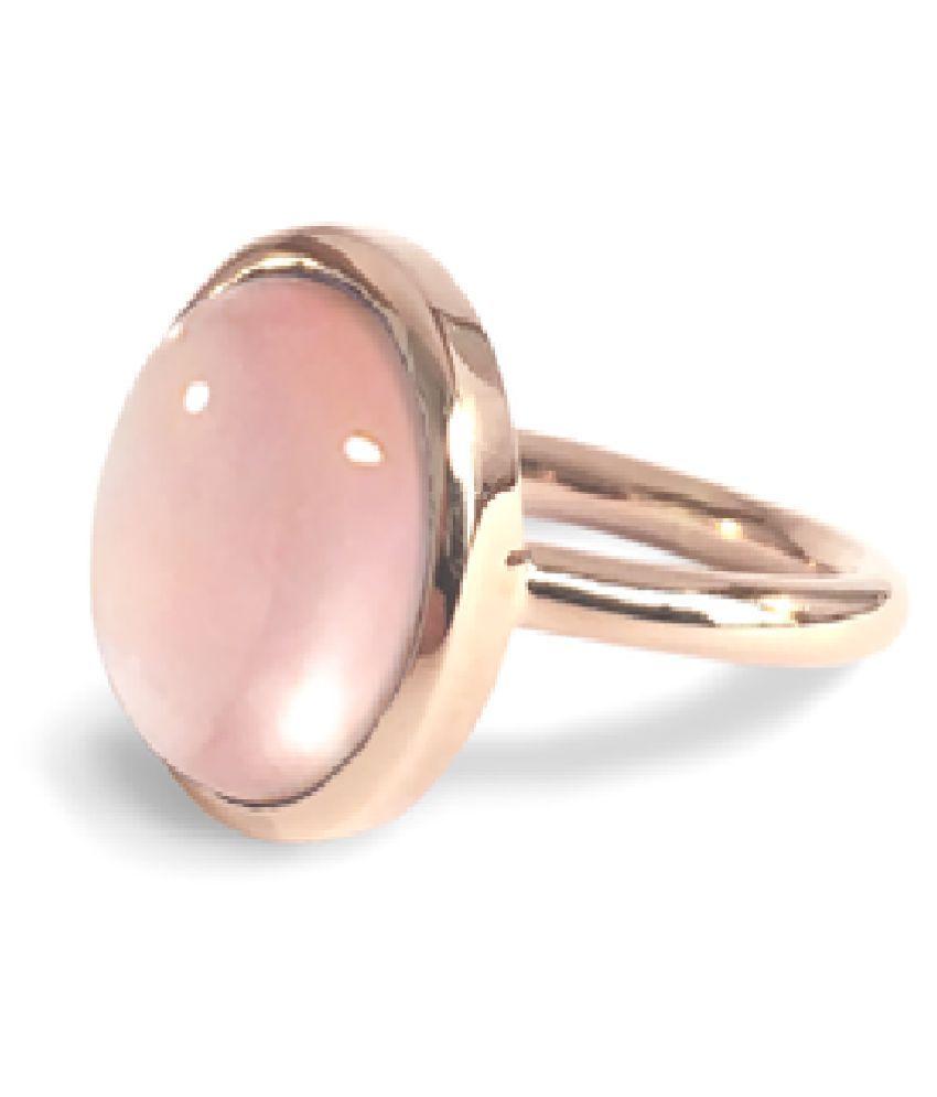 Rose quartz Ring in 8.5 carat  Gold Plated by  Ratan Bazaar