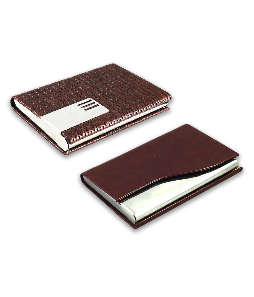 auteur A17-65  Multicolor Artificial Leather Professional Looking Visiting Card Holders for Men and Women Set of 2 (upto 15 Cards Capacity)