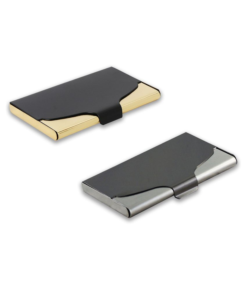 auteur A18-29  Multicolor Artificial Leather Professional Looking Visiting Card Holders for Men and Women Set of 2 (upto 15 Cards Capacity)