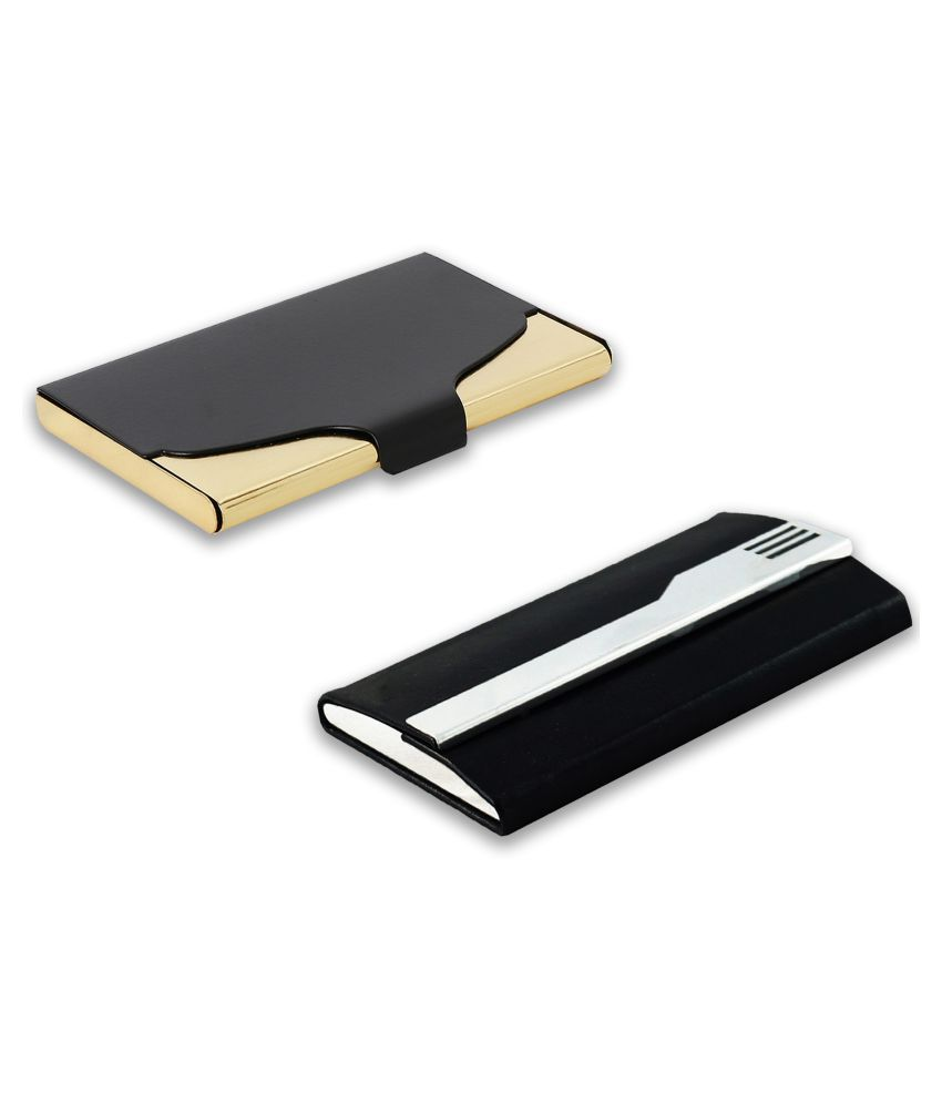 auteur A18-36  Multicolor Artificial Leather Professional Looking Visiting Card Holders for Men and Women Set of 2 (upto 15 Cards Capacity)