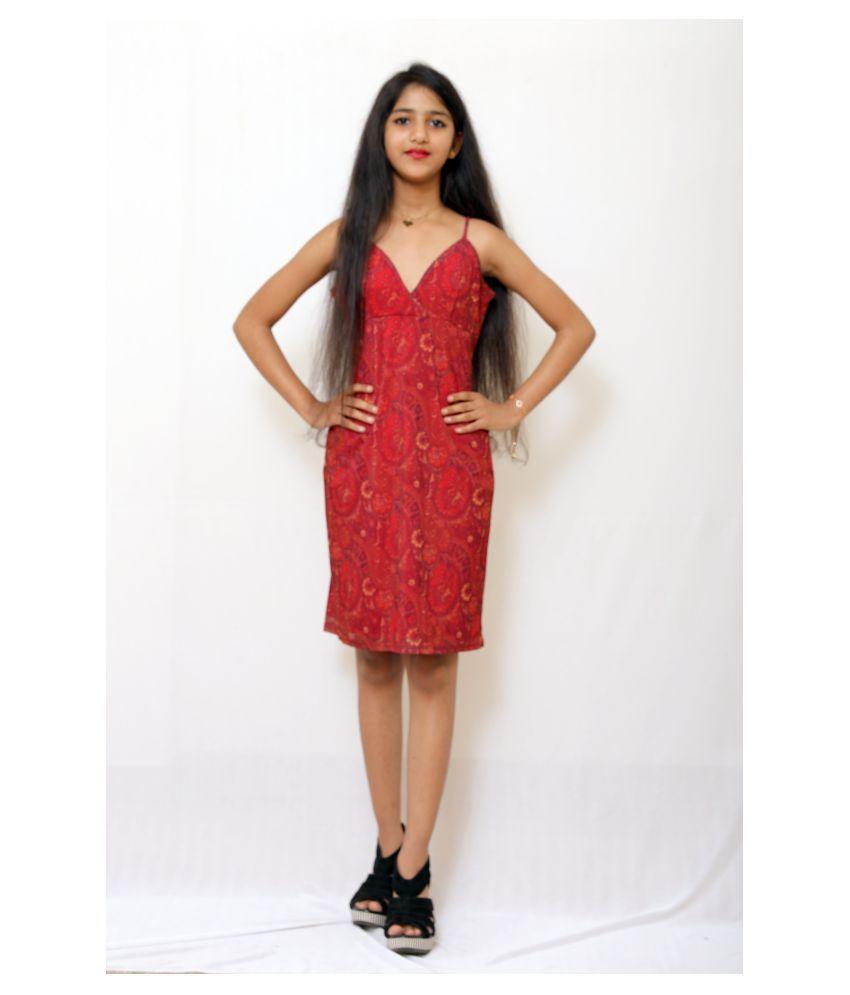 ARRICK FASHION Cotton Red A- line Dress