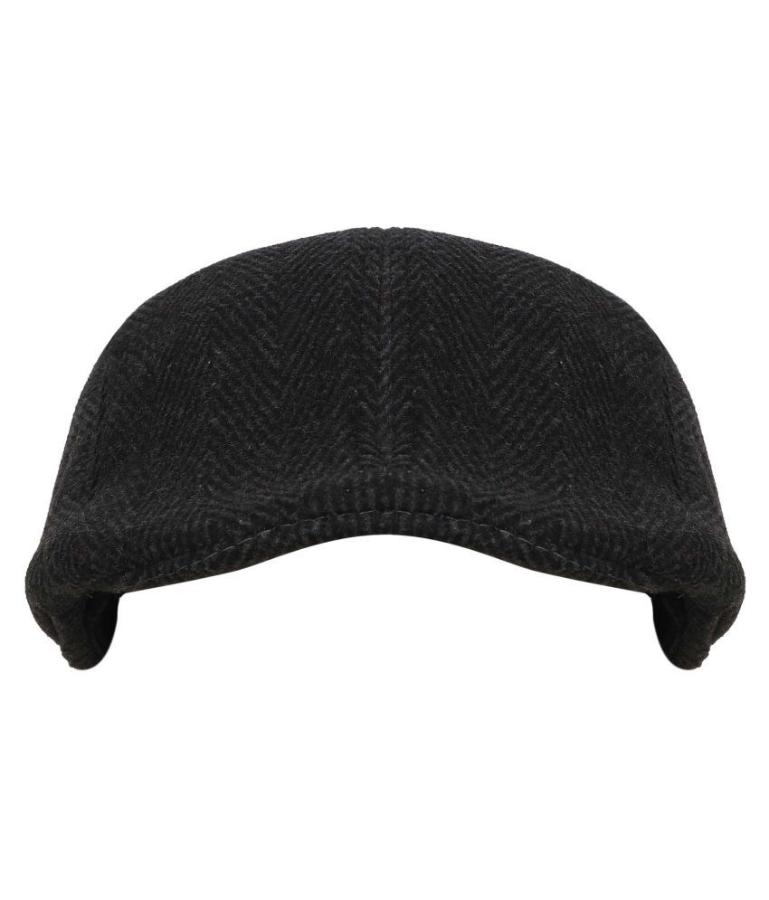 Tiekart Black Plain Wool Caps