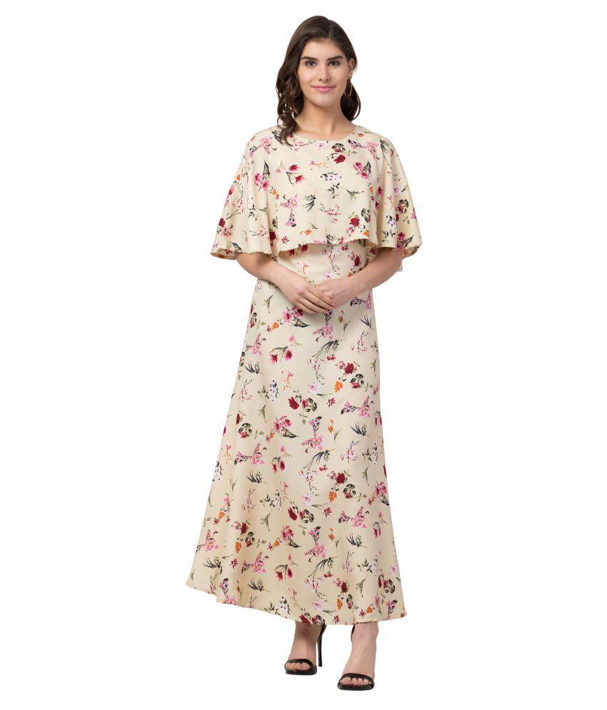 retrobella Polyester Beige A- line Dress