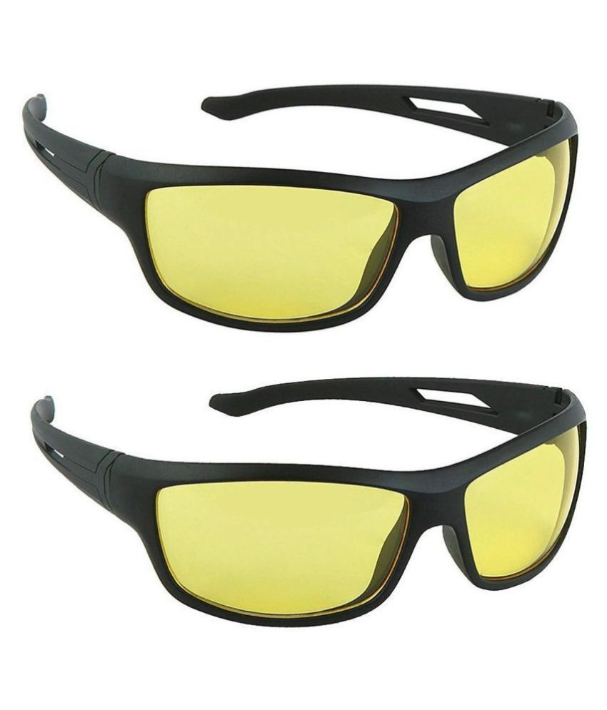 sell4you Night Vsion Driving Sunglasses    Around Glasses with Anti Reflective Coating ( Yellow ) Pack Of 2