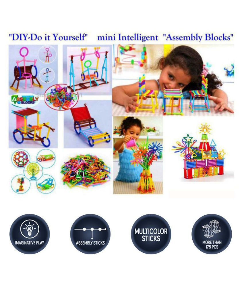 Assembly Colorful Educational Building Smart City Blocks Include 175+ Stick for Kids