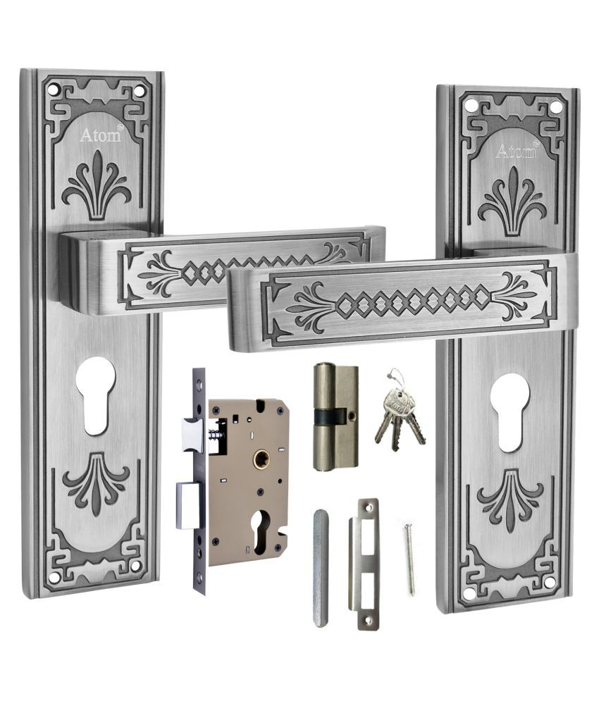 Atom mortise door lock Nexon C.Y. 8 inch mortice handle pair in Black Silver Finish, with 60 mm brass dead bolt cylindrical lock body with five pin brass cylindrical both side key with 3 keys.