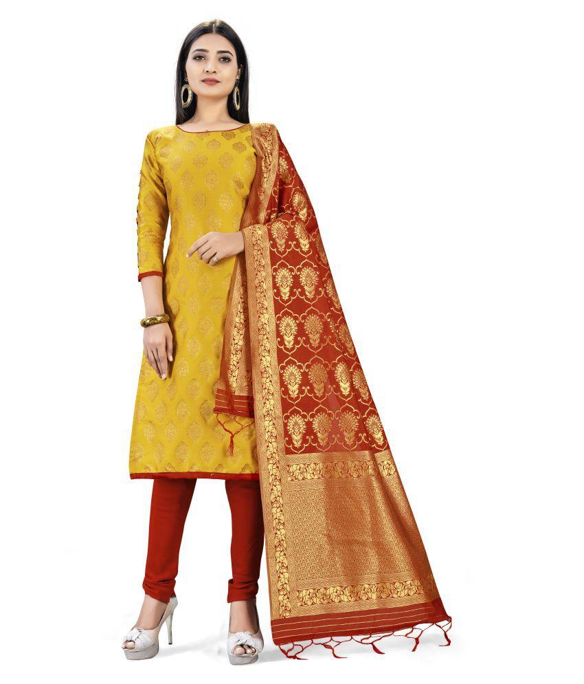 Maroosh Yellow Banarasi Silk Unstitched Dress Material