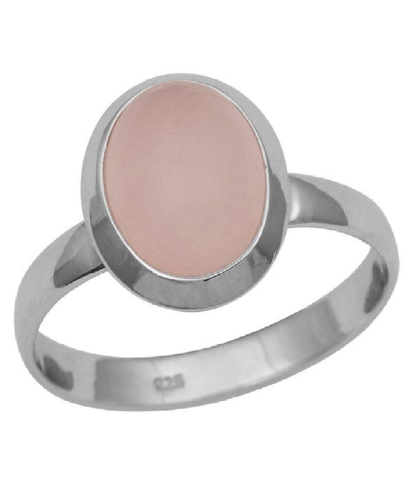 Rose quartz Ring 5 carat  Silver Ring  by  Kundli Gems