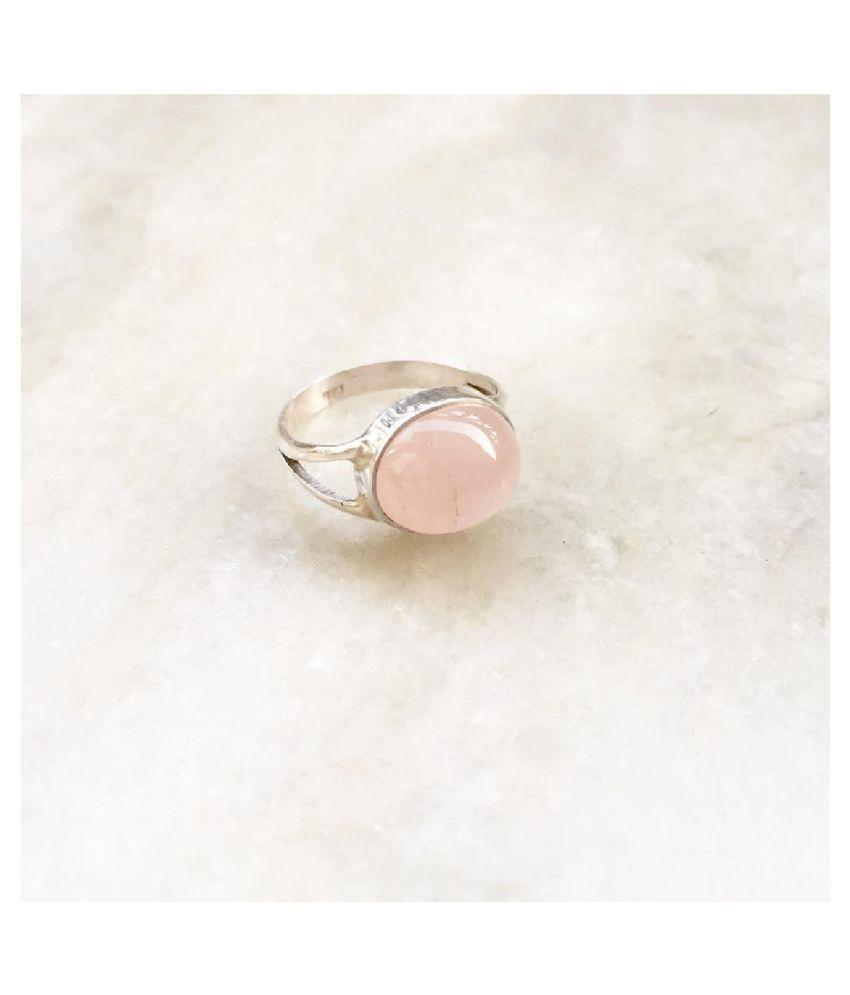 7.25 Carat Stone Rose quartz Silver Ring for unisex by Kundli Gems \n