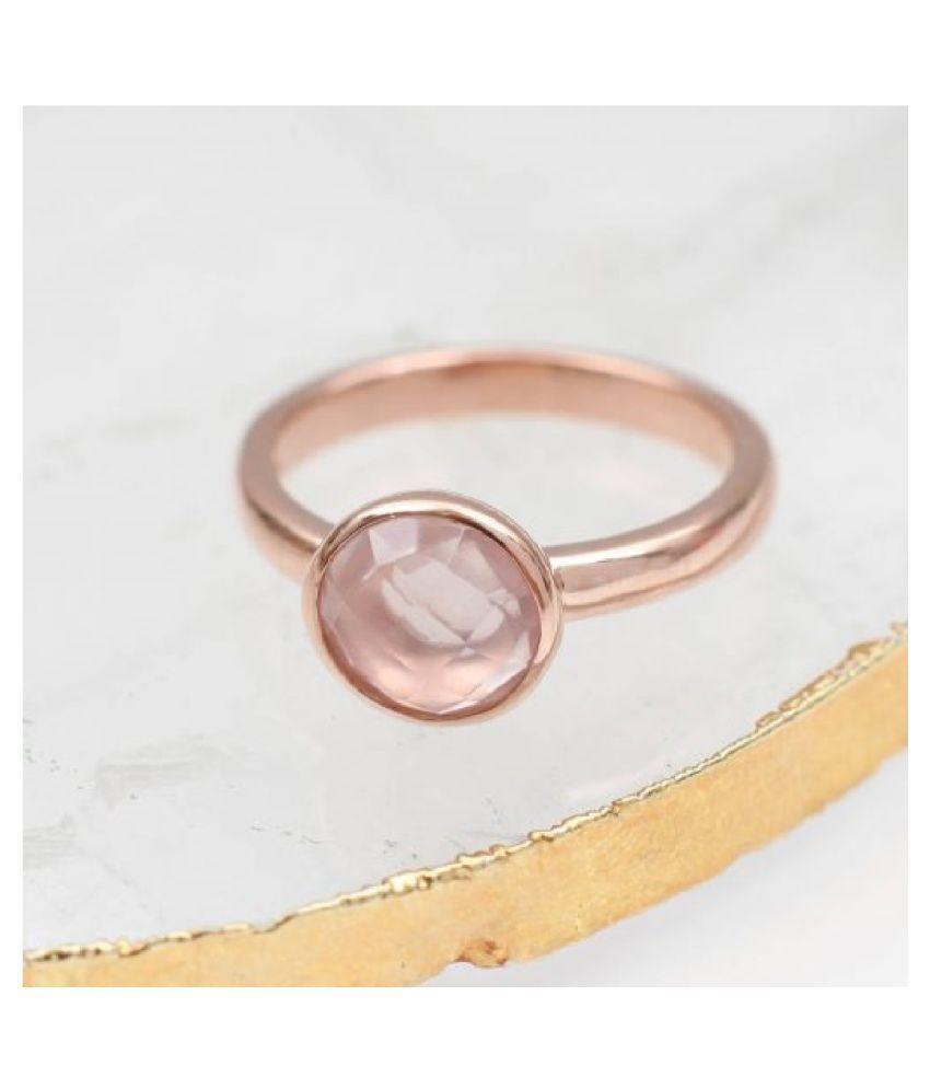 Gold Plated Rose quartz Stone Ring 7 carat by  Kundli Gems