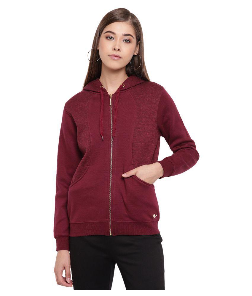 Miss Grace Cotton Maroon Zippered Sweatshirt