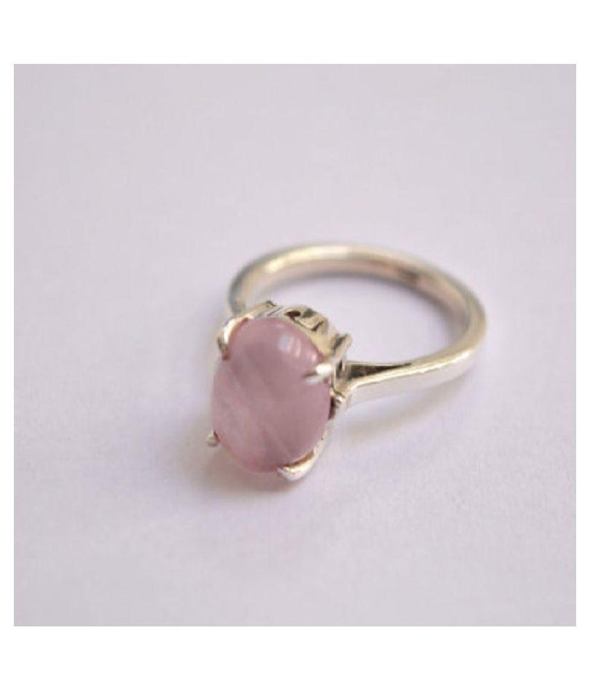 Rose quartz Ring in 6 carat Gold Plated by  Kundli Gems