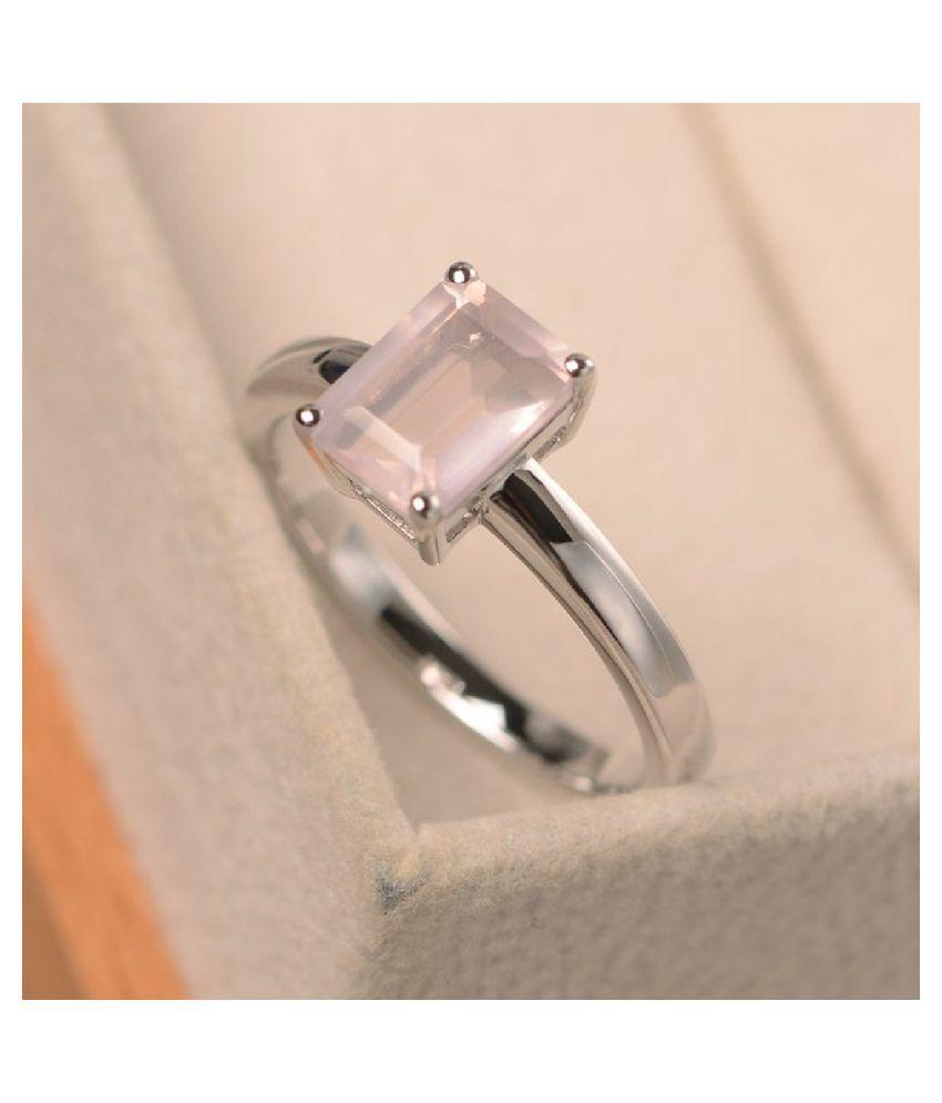 Rose quartz Ring in 9.5 carat Silver by  Kundli Gems