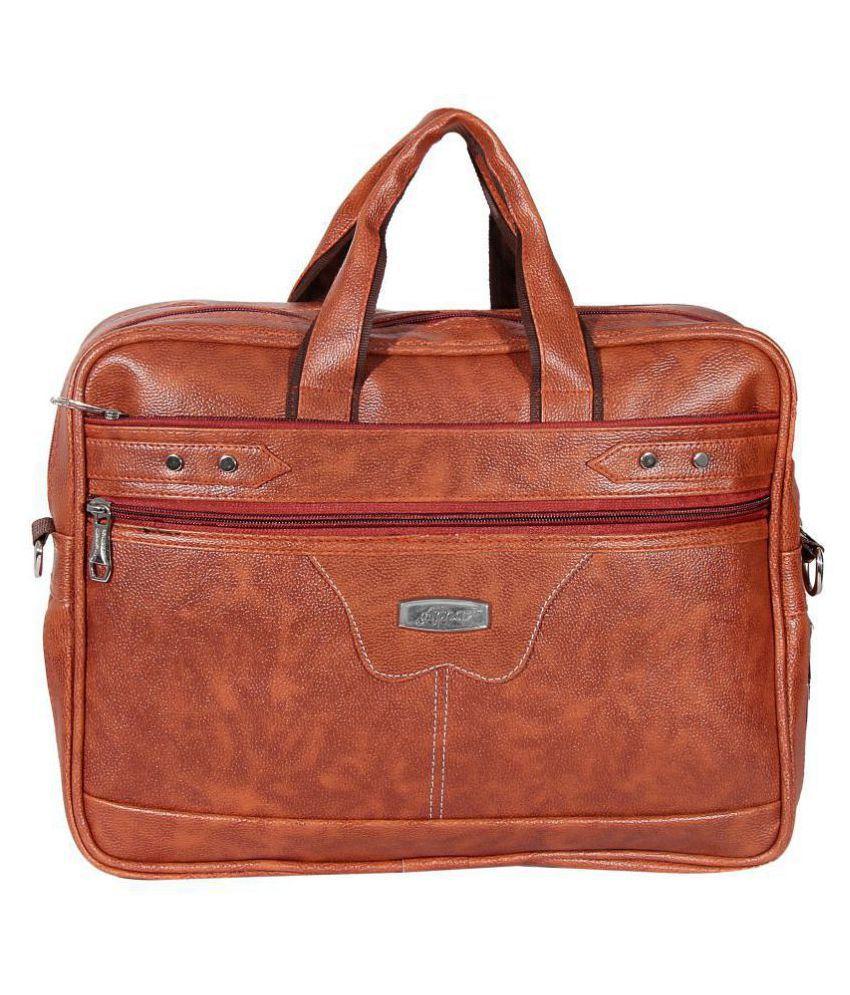 Apnav Tan Leather Office Bag